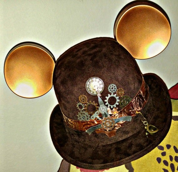 Steampunk disney. Starwars disney. Steampunk. Derby Mickey Mouse Hat. Original Disneyland Hat. Mickey Mouse Ears. Custom Disney Hat.