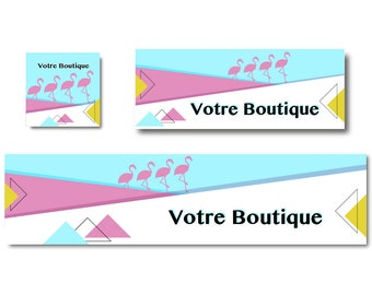 Banner shop, Flamingo Pink, turquoise and yellow banner Scandinavian