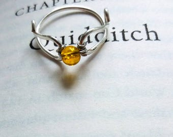 Golden Flying ball Citrine ring- Promise Ring, Engagement Ring, Wedding Ring- Harry Potter Inspired