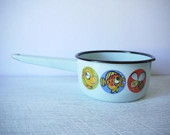 Gorgeous Vintage Enamel Milk Pot