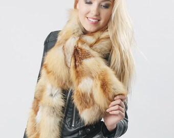 Real red fox fur scarf Fur sweater collar Luxury fur wrap Luxury Christmas gift for wife, Valentine's gift