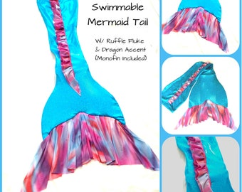 """Swimmable Mermaid Tail """"Summer Sunset"""" W/ Monofin"""