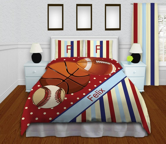 Kids Red Basketball Bedding Baseball Comforter Set Football Boys Sports Personalized King Queen Full Twin XL 152
