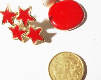 Vintage Red Enamel Earrings