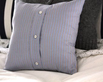 Upcycled Mens Shirt Pillow Cover 12x12