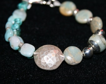 OCEANUS Aquamarine, Amazonite, Apatite, Jasper and Sterling Bracelet