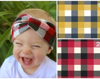 Plaid Baby Turban Headband, Adult Headband, Baby Headwrap, Toddler Turban, Headband, Adult Turban Headband, Adult Headwrap, Turban