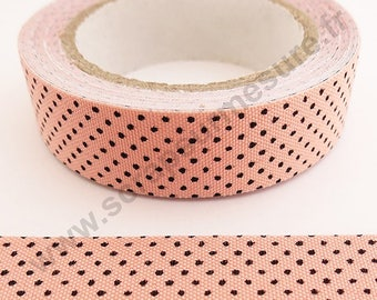 Fabric adhesive fabric tape - pink with black polka dots - 15mm x 4 m