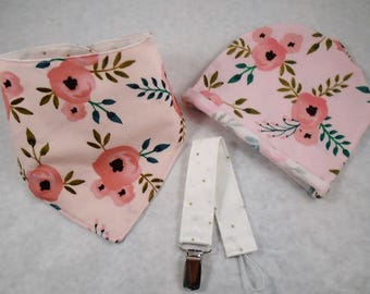 Baby gift set, hat, bib & pacifier clip