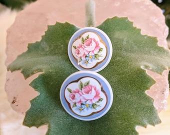 Vintage painted porcelain button earrings