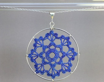 Scallops doily necklace, blue hand-dyed silk thread, sterling silver
