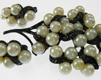 Vintage Simulated Pearl Brooch, Earrings Set. Japanned Demi Parure.