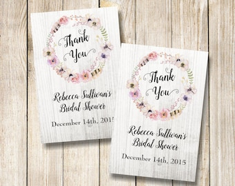Boho Thank You Tags, Floral Wreath Favor Tags, Printable Flowers and Feathers Favor Tags, Bridal Shower Tags, Wedding Tags