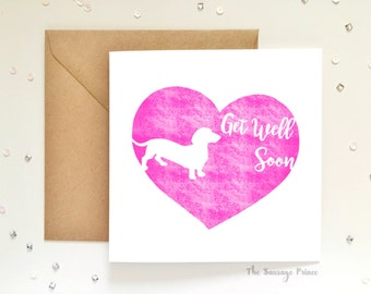 Get Well Soon Dachshund Dog Square Greeting Card