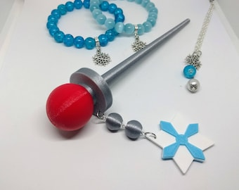 Mei Hairpin, Mei Bracelet, Mei Necklace, Mei cosplay set, Overwatch inspired Cosplay, Mei Hair Pin, Mei Overwatch Cosplay