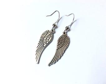 angel wings dangling earrings