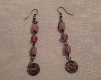 Earrings color bronze and pink glass beads
