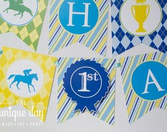 INSTANT DOWNLOAD Kentucky Derby Birthday Party Banner - Printable - Personalized - Dapper Derby // DER