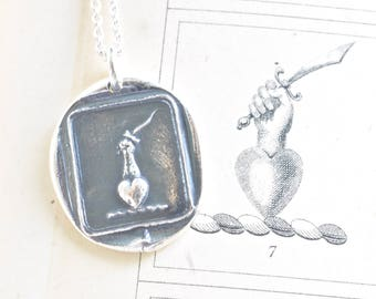 heart pendant - heart, hand and dagger wax seal necklace - true to the end - silver antique wax seal jewelry