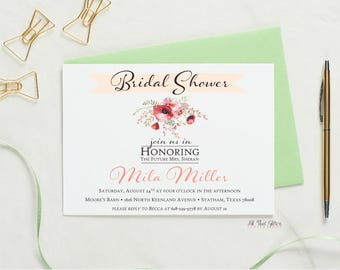 Floral Bridal Shower Invitations, Rustic Wedding Shower Invites, Country Chic Bridal Shower Invitation, Mila