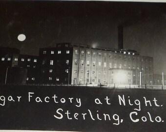 Sugar Factory at Night, Sterling Colorado Antique RPPC