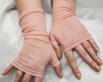 Bridal gloves, Quartz pink gloves, Pink tulle bridal arm warmers, Tulle mesh gloves, stretch mesh wedding gloves, delicate mesh gloves
