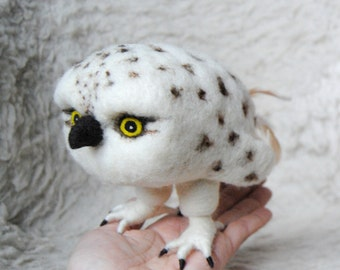 Baby Snowy Owl, Needle Felted Bird READY TO SHIP