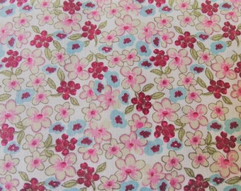 Pink and blue flowers pattern cotton fabric