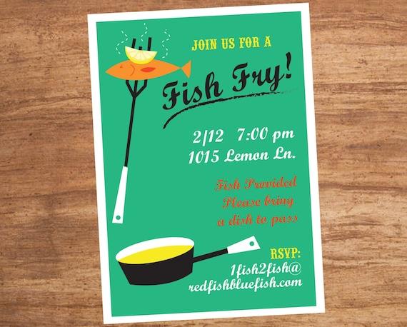 Fish Fry Dinner Party Custom Invitation