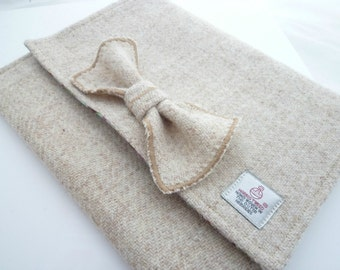 Oatmeal Harris Tweed Deep Clutch Bag with Floral Lining and Bow