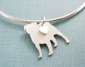 Pug Dog Bangle Bracelet, Sterling Silver Personalize Pendant, Breed Silhouette Charm, Rescue Shelter, Mothers Day Gift