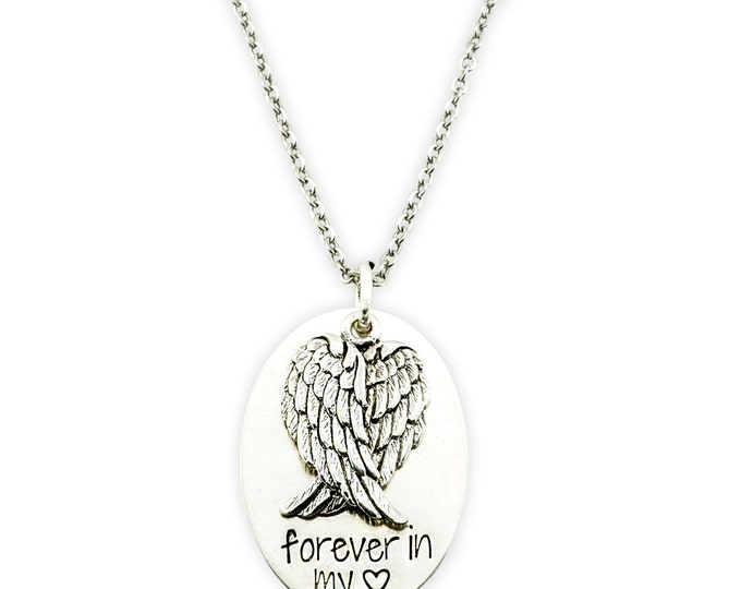 Sterling Silver Forever in my heart necklace -memorial keepsake necklace - loss of loved one gift- personalized memorial - memorial necklace