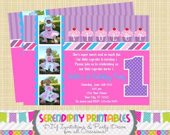 Purple Cherry Cupcake Printable Invitation