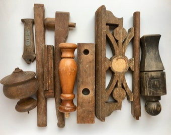 big lot wood, wood pieces parts, furniture salvage, architecture salvage, wooden onlays, wood spindles, antique finial, decorative pediment