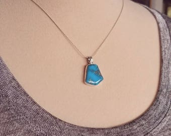 TURQUOISE  pendant.Kingman, Az.  Solid Sterling, crafted in USA