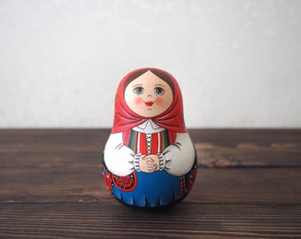 Hand Painted Matryoshka Roly Poly Doll. Norwegian Traditional Costume.