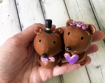 Sweetheart Bear Cake Toppers - OOAK
