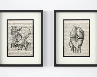 Hip, Knee over Vintage Medical Book Pages - Set of 2 Prints, Physical Therapy, Nurse, Orthopedic Gift, Physical Therapist Gift
