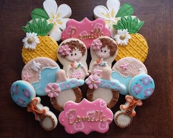 Nice Hawaiian Baby Shower, Hawaiian Sugar Cookies, Hawaiian Baby Shower Cookies,  Tiki Party,