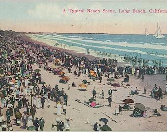 Long Beach California Beach Scene Vintage Postcard 1923