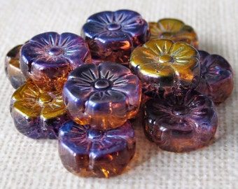 12mm Czech Glass Daisy Flower Bead Mix: 10 pc Amethyst Tangerine Hawaiian Czech Flower