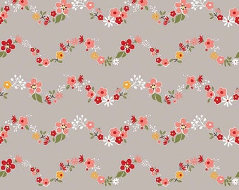 Sweet Prairie Floral Chains Gray fabric - Riley Blake - Sedef Imer - 100% cotton - by the half yard - modern, floral, geometric