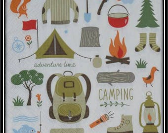camping themed paper napkin