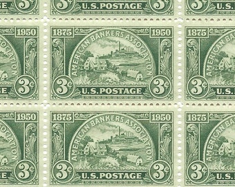 10 Unused US Postage Stamps American Bankers Association 3 Cents 1950 Stamp #987 Green Craft Supply or Mail Wedding Invitations ABA - 7316