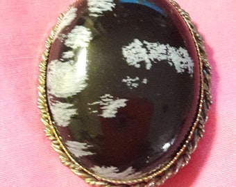 Sterling silver agate brooch