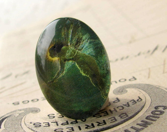 Absinthe Fairy, artisan crafted glass oval cabochon, emerald green fairy, 25x18mm 25x18 18x25mm 18 25 18x25  Absynthe mystical magical