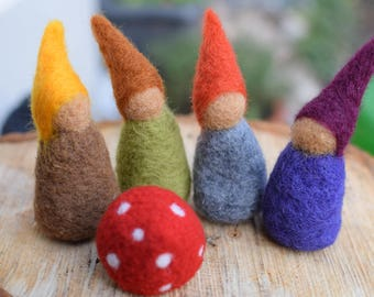 felt gnome set Needle Felted Felt Doll Nursery Waldorf Pure Merino Wool Toy Fairy