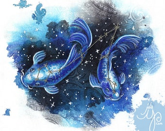 Pisces- The Fishes- Mixed Media Fabric Illustration- Framed Original