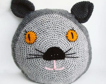 Free Shipping Crochet Cat Pillow, Stuffed Crochet Cat Face Cushion, Stuffed Cat Toy, Crochet Animal Pillow,Crochet Toy Cat, Cat Lovers