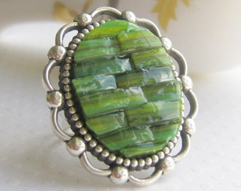 Jade Green Ring, Stained Glass Mosaic, Marbled Ring, Green Cocktail Ring, Large Oval Ring